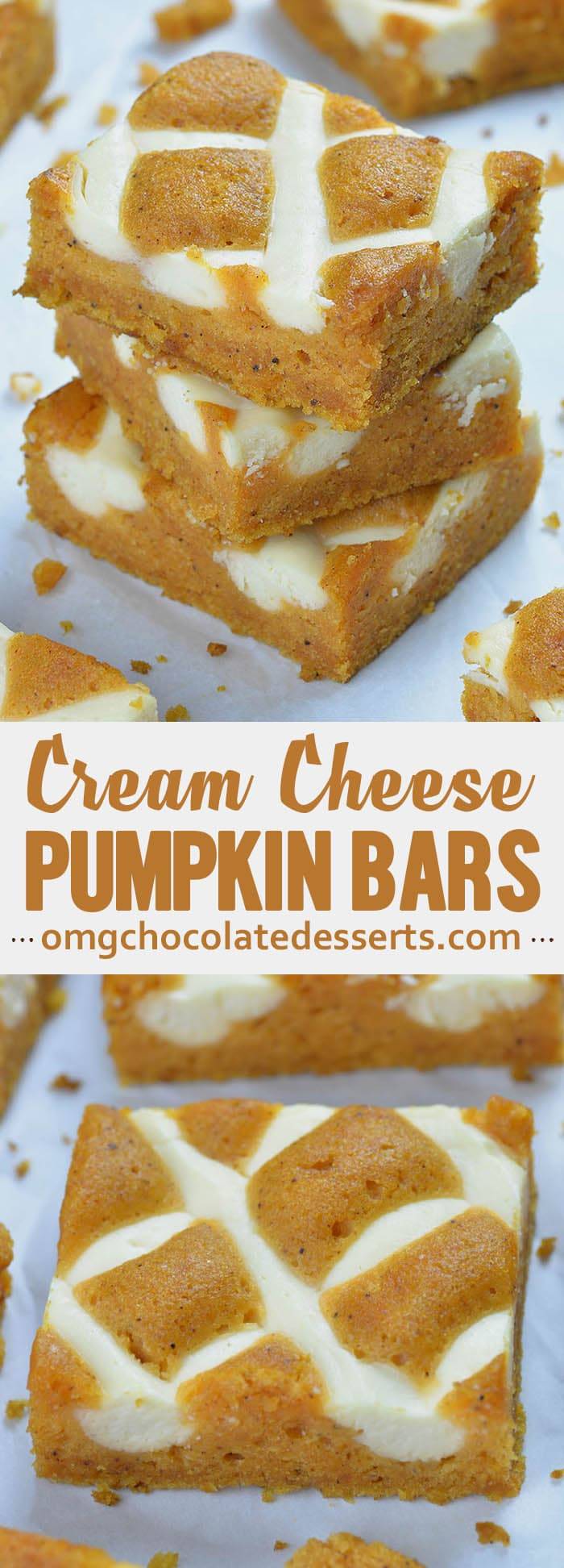 Pumpkin Bars with Cream Cheese is simple and easy dessert recipe for fall baking season, especially to be served as a dessert at Halloween party or as light and easy dessert after Thanksgiving dinner.