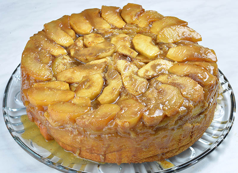 Whole finished Upside Down Apple Cinnamon Roll Cake