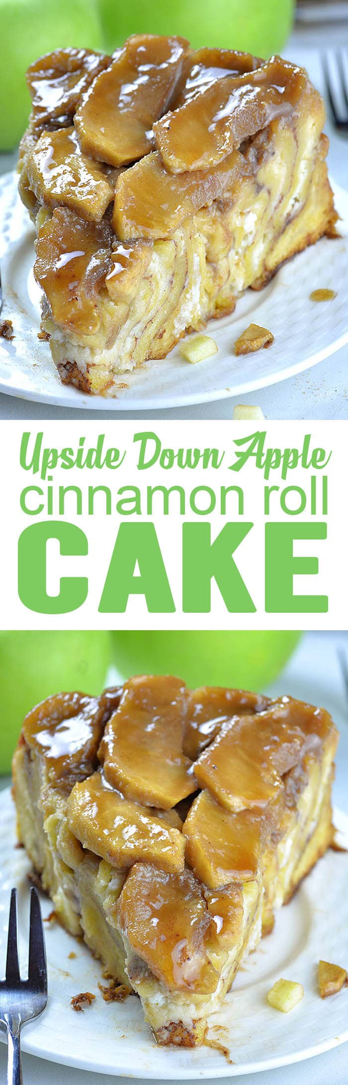 Upside Down Apple Cinnamon Roll Cake is like giant cinnamon roll, only better having cream cheese filling and ooey-gooey homemade caramel sauce and fresh apples on top. Serve it up for breakfast or brunch, or simply as a dessert or snack. It's so delicious and comforting, perfect for fall baking season!