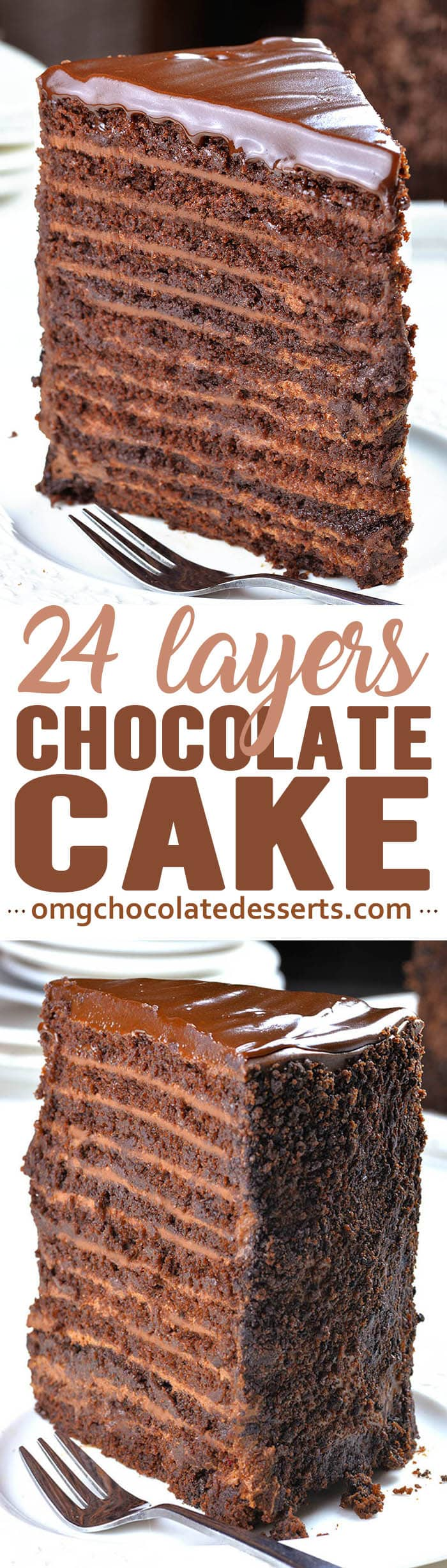 Chocolate Cake with 12 layers of smooth chocolate filling, 12 layers of moist and rich chocolate cake, topped off with a layer of silky semisweet chocolate ganache is the most decadent chocolate cake I've ever tried!