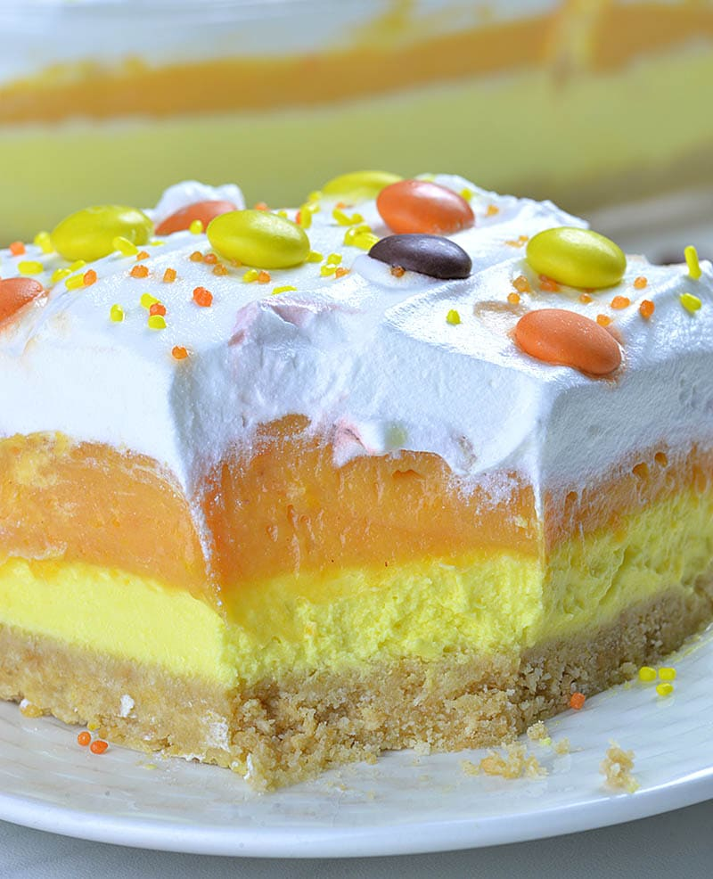 Big piece of Candy Corn lasagna