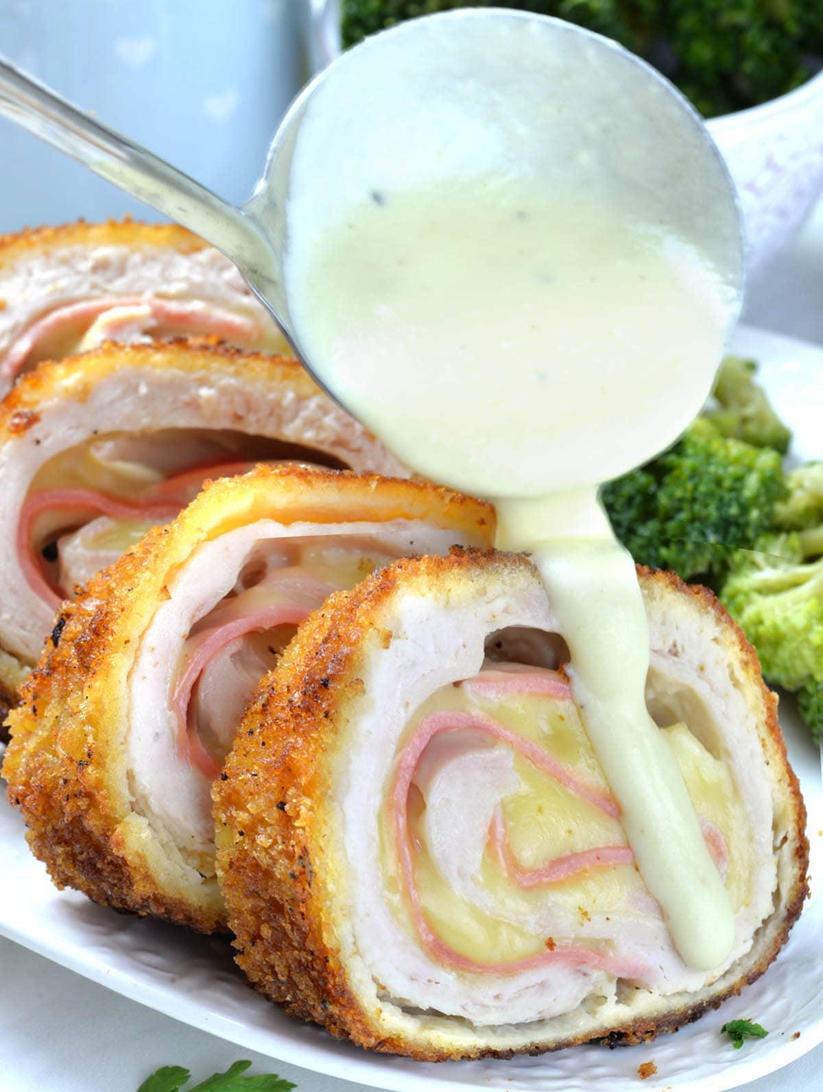 Chicken Cordon Bleu is usually served with Cordon Bleu Sauce.