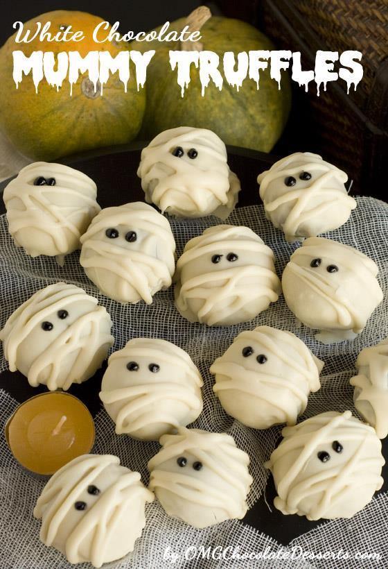 White Chocolate Mummy Truffles are fun and festive Halloween treat.