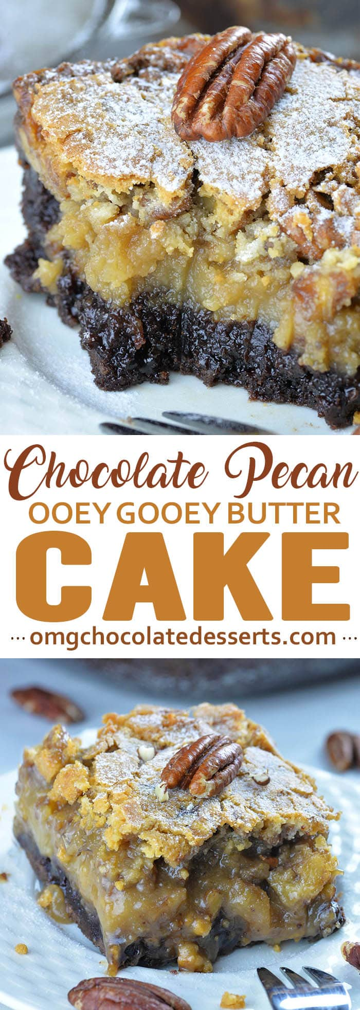 Chocolate pecan ooey gooey butter cake is very rich, sweet and velvety cake with crispy top layer of crust and molten lava in the center. Although, this cake looks like a gooey mess, it's melt-in-your-mouth-goooood!!