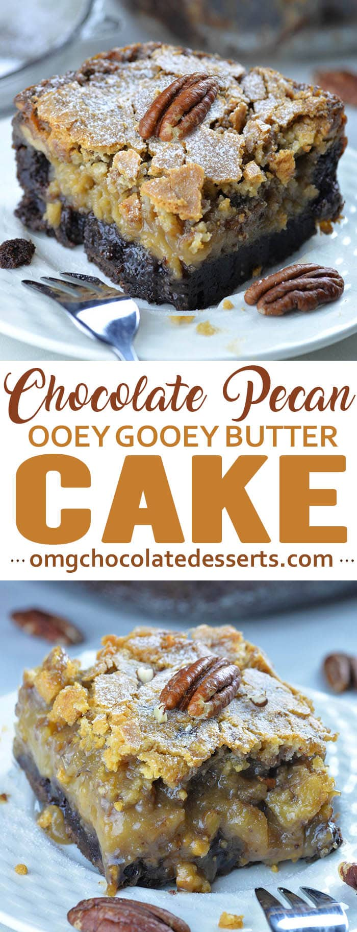 Fudgey brownie crust, ooey gooey center and sweet flaky top makes the best texture and flavor combo!!! Ooey Gooey Butter Cake is the best soon after baking it, warm and served at room temperature.