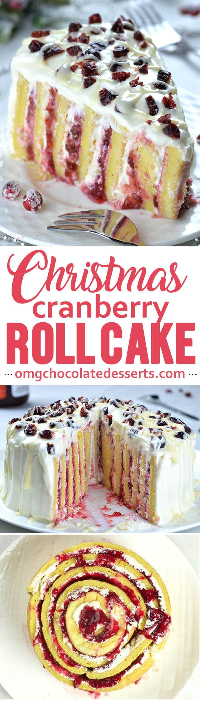 Cranberry Christmas Cake is vertical multi-layer madness of moist vanilla sponge, cranberry filling and white chocolate cream cheese frosting. It's delicious Christmas dessert