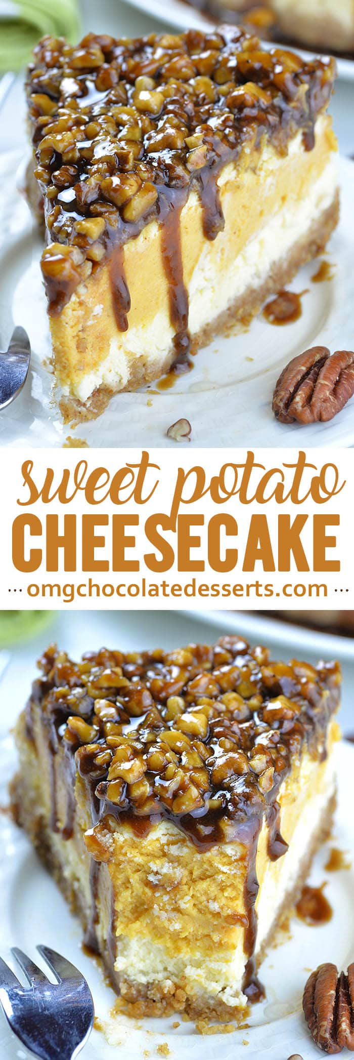 This year make a fun twist on classics and turn them into one delicious and festive dessert- Sweet Potato Cheesecake with Pecan Topping.