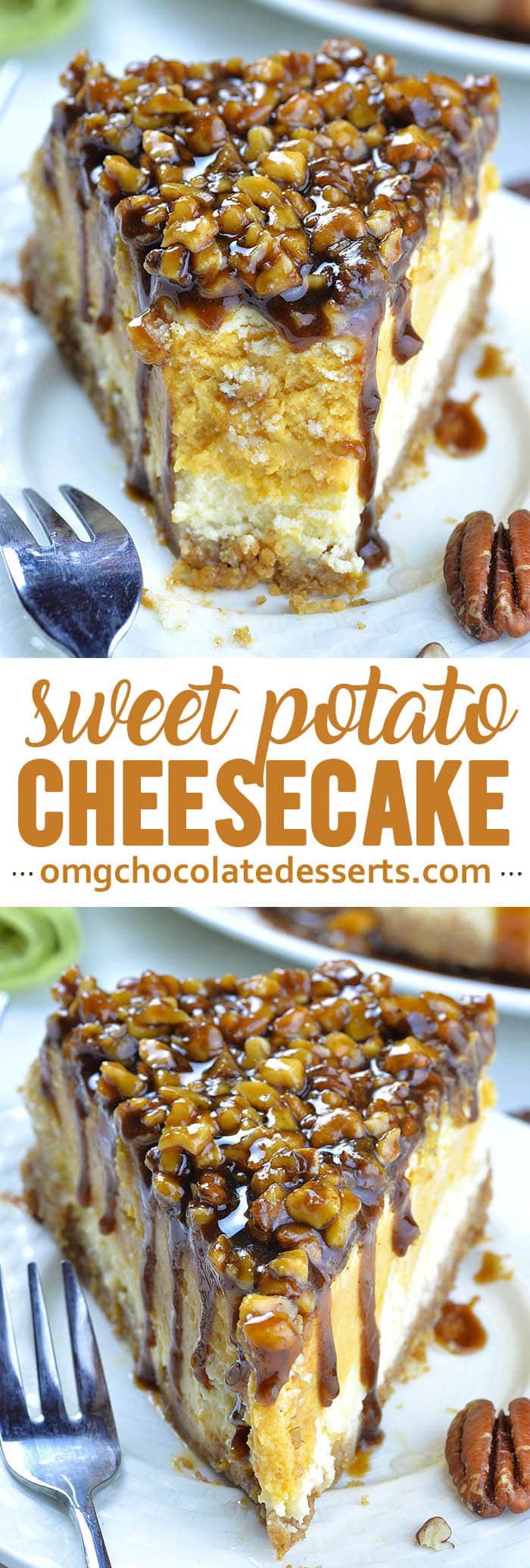 Sweet Potato Cheesecake with Pecan Topping is delicious dessert for holiday season, especially Thanksgiving and Christmas! Sweet potato pie, pecan pie and cheesecakeare traditional desserts, often served during the holidays.