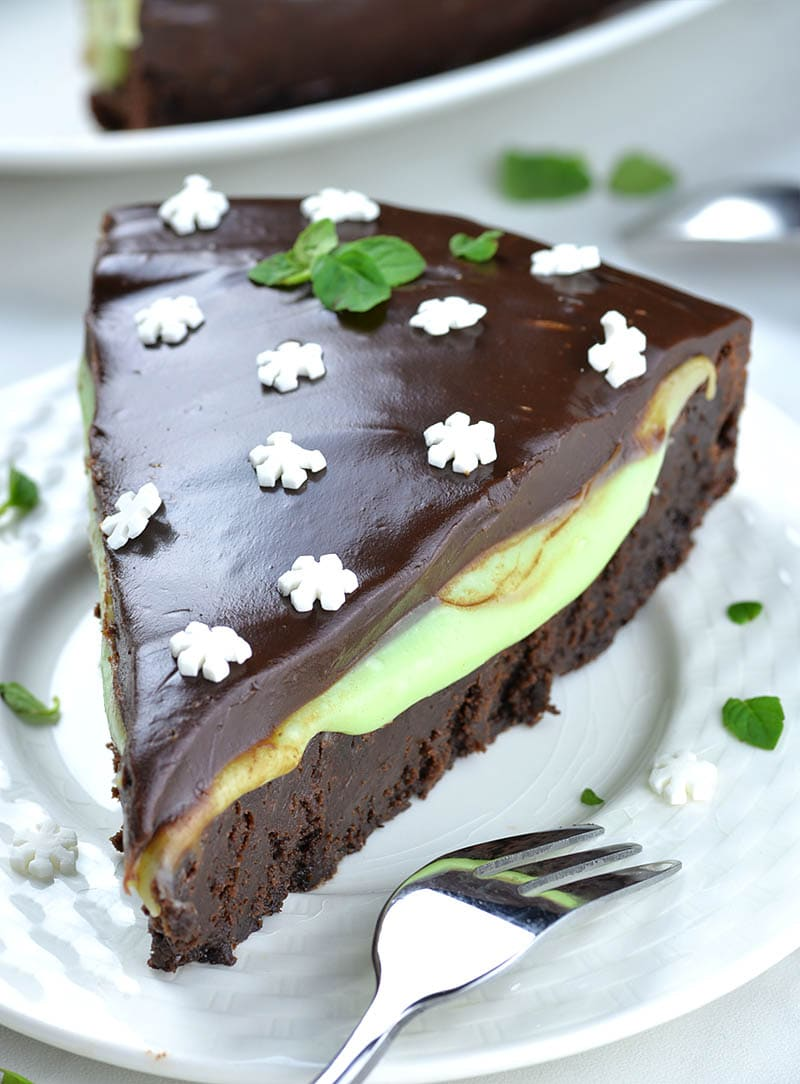 Mint Chocolate Flourless Cake - bottom layer is classic flourless chocolate cake, but it's filled with white chocolate mint filling.
