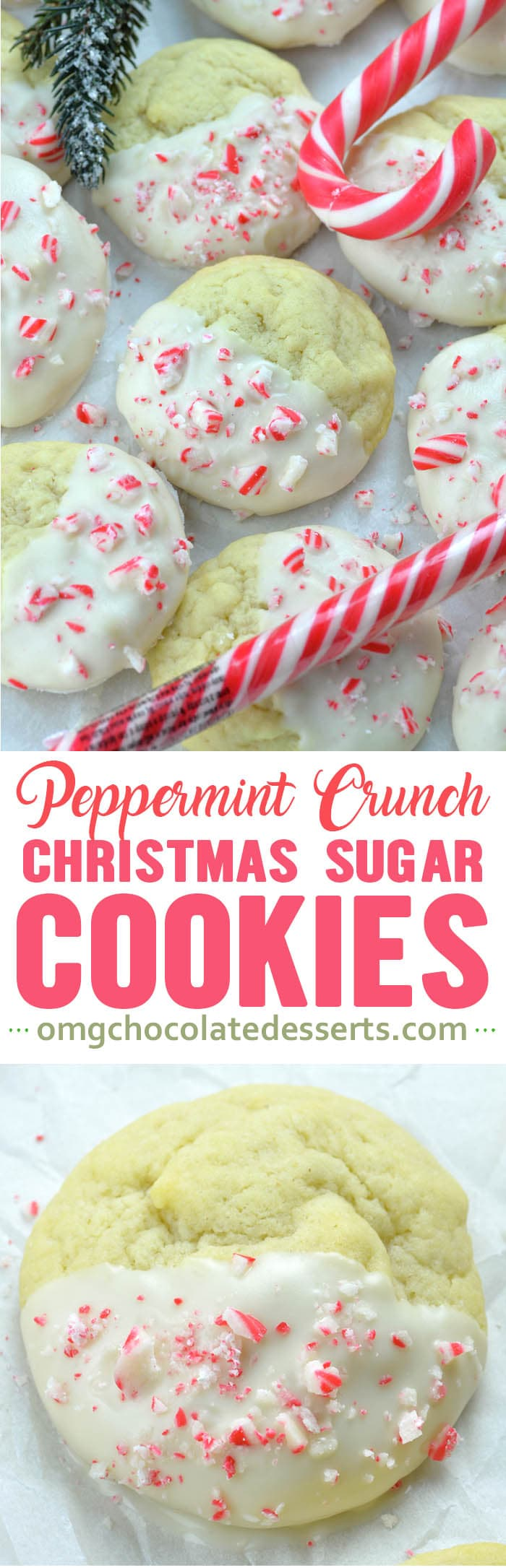 This Peppermint Crunch Sugar Cookies are as simple and easy to make as they are festive and delicious to eat.