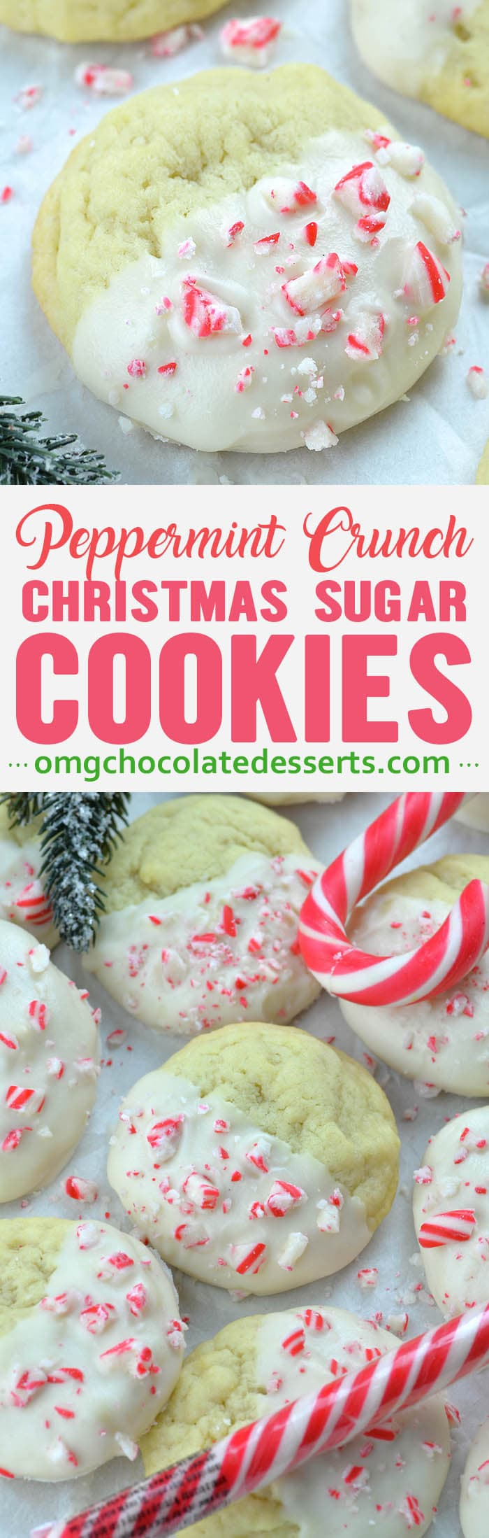Peppermint Crunch Sugar Cookies Omg Chocolate Desserts