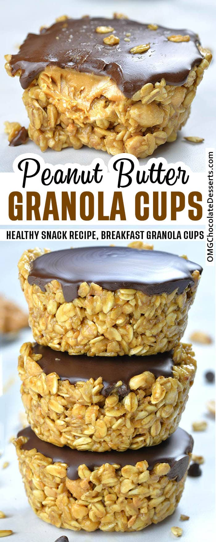 Two images of No Bake Peanut Butter Granola Cups