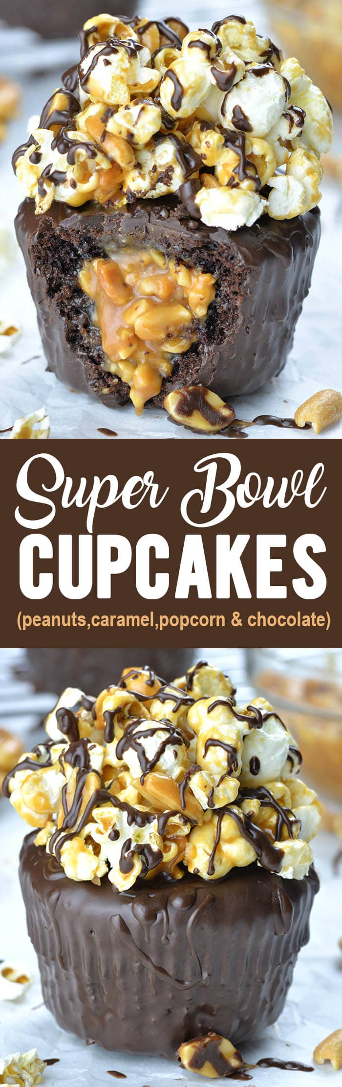 Nothing tastes sweeter than a Super Bowl win, but these delicious chocolate cupcakes with salted caramel, peanuts and popcorn come pretty close!