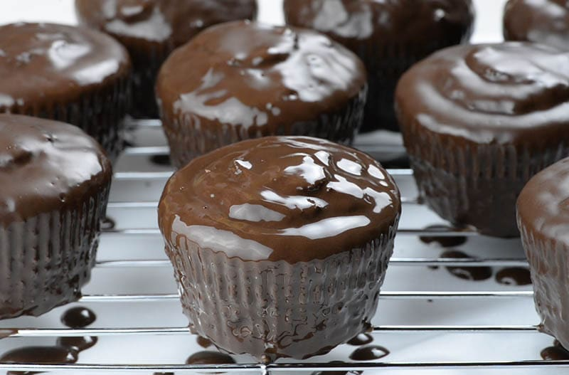 Chocolate glazed chocolate cupcake.