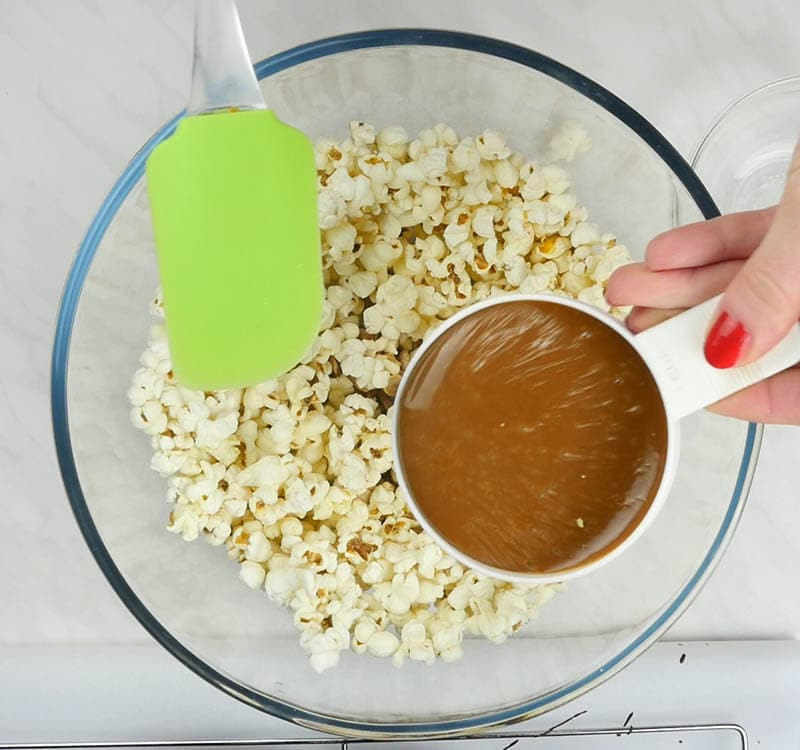 Popcorn bowl with caramel.