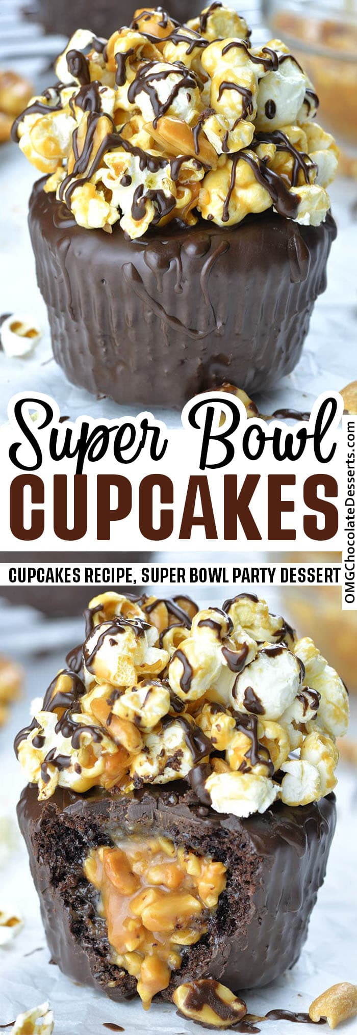 Super Bowl Cupcakes - Nothing tastes sweeter than a Super Bowl win, but these delicious chocolate cupcakes with salted caramel, peanuts and popcorn come pretty close!