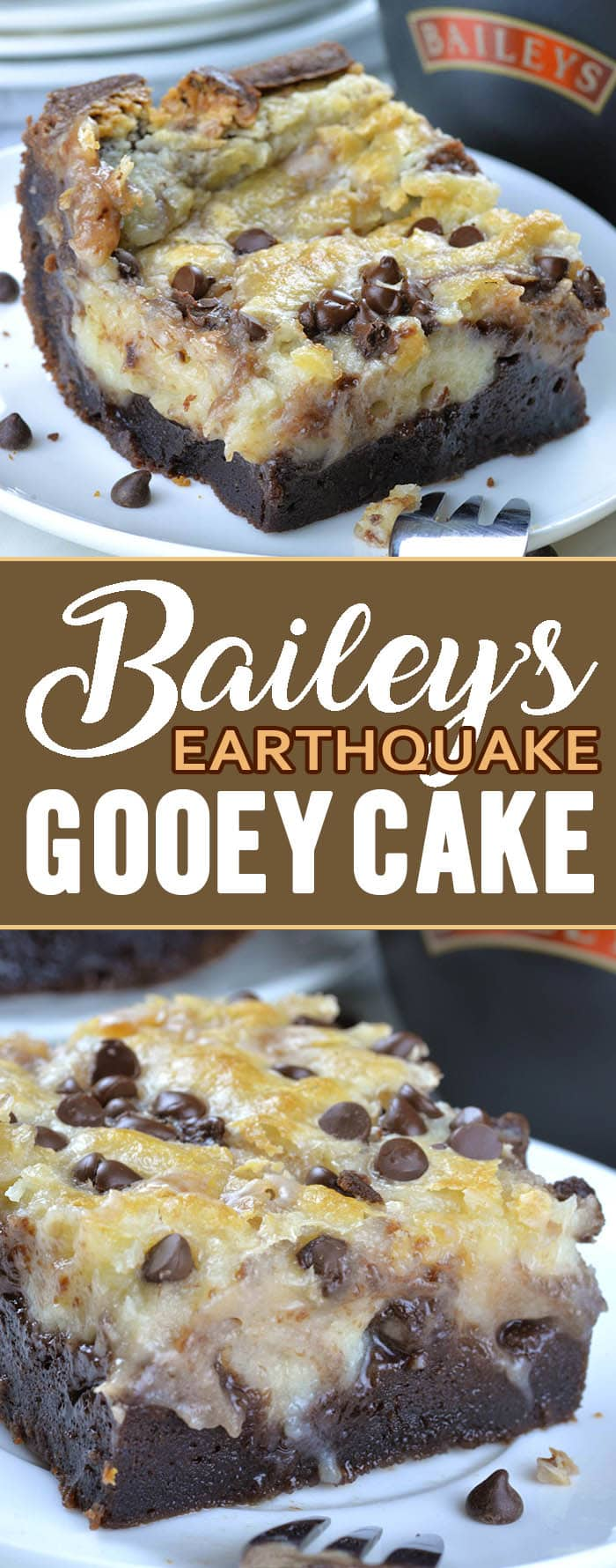 Baileys Earthquake Cake is delicious, gooey chocolate cake, loaded with Bailey's Irish Cream liqueur in every single bite. This decadent cake is great St. Patrick's Day dessert.
