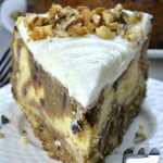 Slice of banana bread cheesecake.