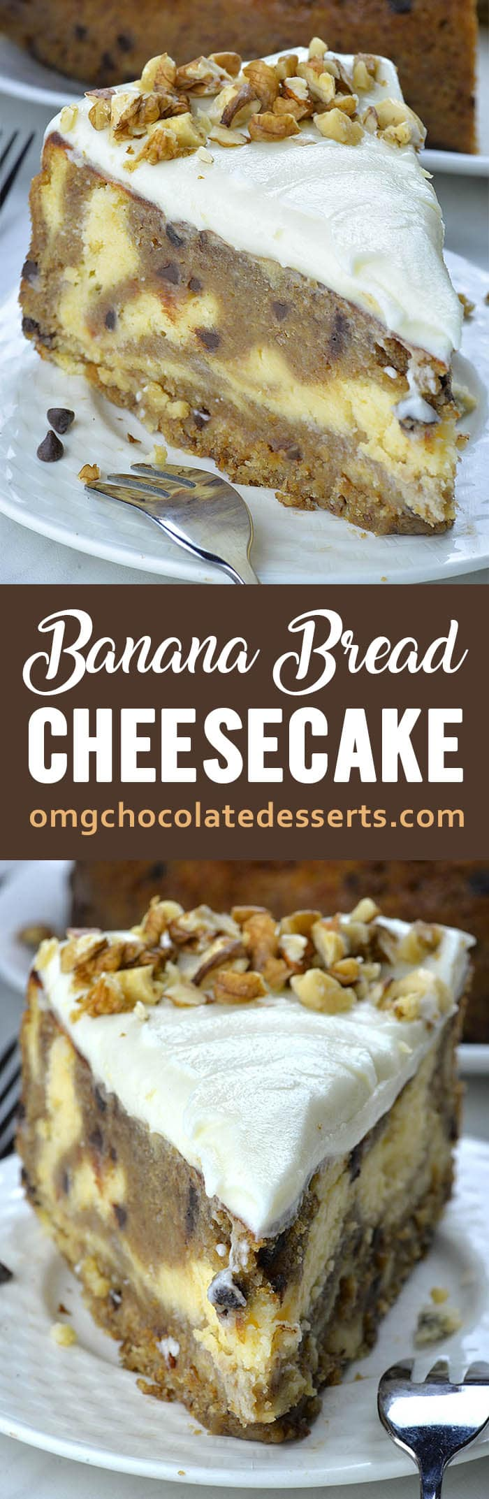 Banana Bread Cheesecake is melt-in-your-mouth, delicious combo of smooth and creamy vanilla cheesecake and the moistest chocolate chip banana bread.