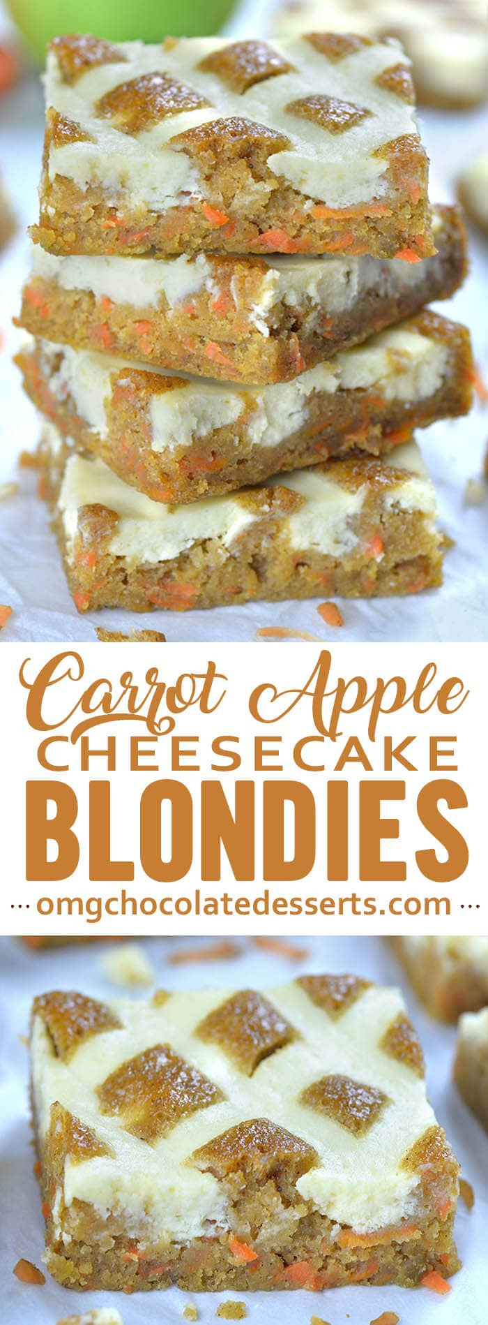 Carrot Apple Cheesecake Blondies is simple and easy recipe for delicious blondie bars infused with carrots and apples for flavor, natural sweetness and incredible moisture.