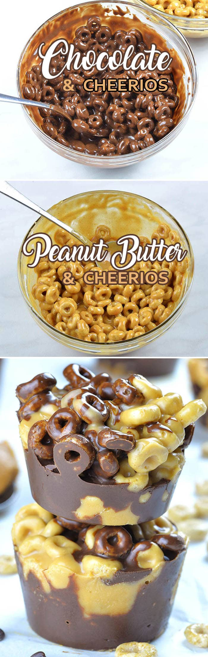 Chocolate Peanut Butter Cheerios Cups are quick and easy no bake dessert or snack with only 5 healthy ingredients. These yummy bites are made with Cheerios cereals, dark chocolate, organic coconut oil, peanut butter and organic brown rice syrup.