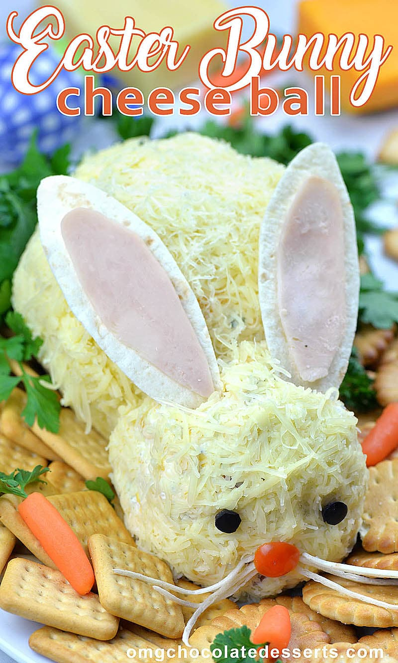 Easter Bunny Cheese Ball is delicious and easy Easter appetizer! This Easter Bunny is fun and festive version of classic cheese ball recipe with cream cheese, Cheddar cheese, Ranch seasoning mix and crumbled bacon.