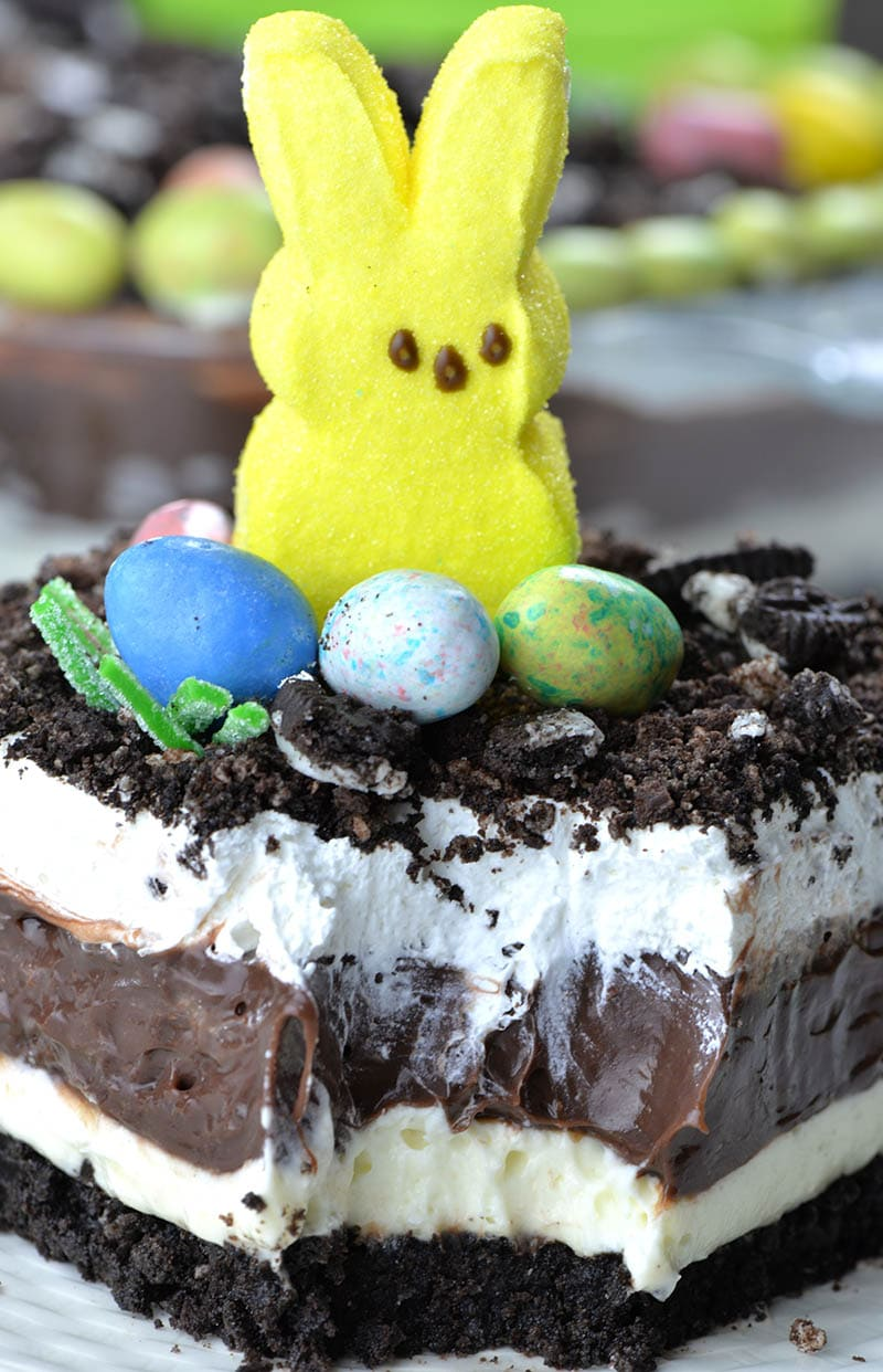 Big slice of Easter Chocolate Lasagna .