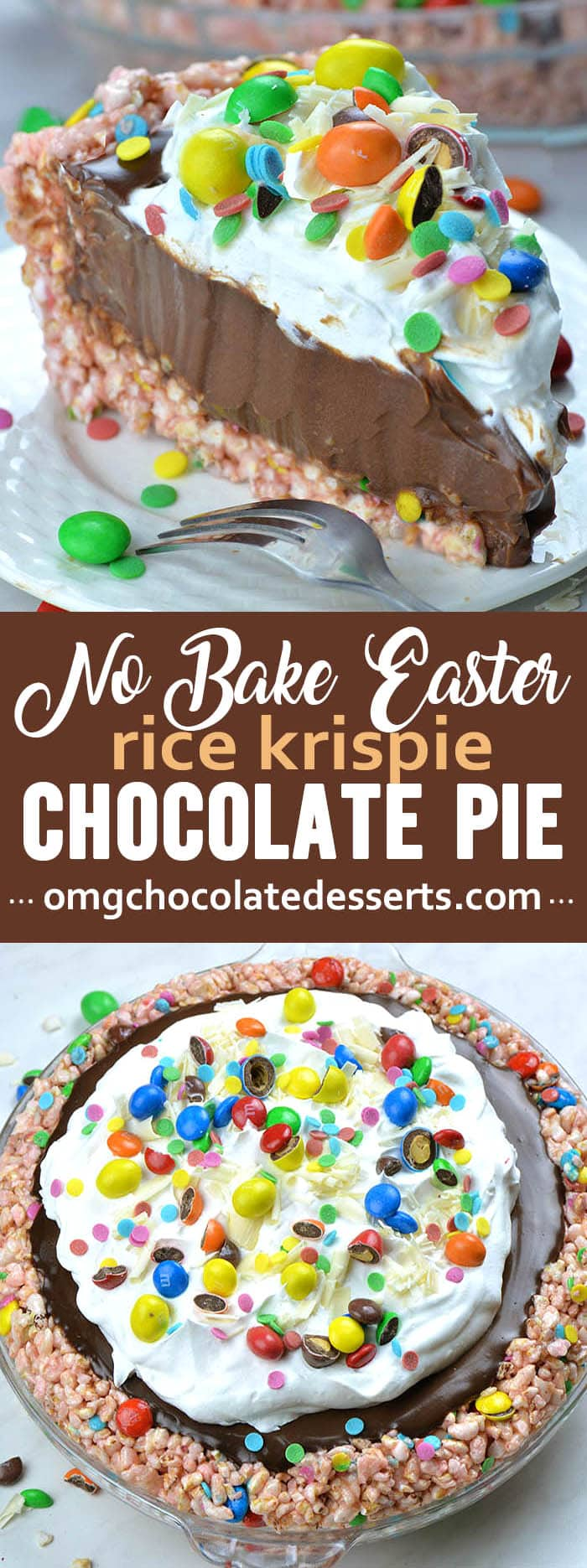 Looking for quick and easy Easter dessert recipe? This No Bake Easter Chocolate Pie with Rice Krispie crust and chocolate pie filling, topped with M&M candies and white chocolate shavings is perfect and easy dessert recipe.