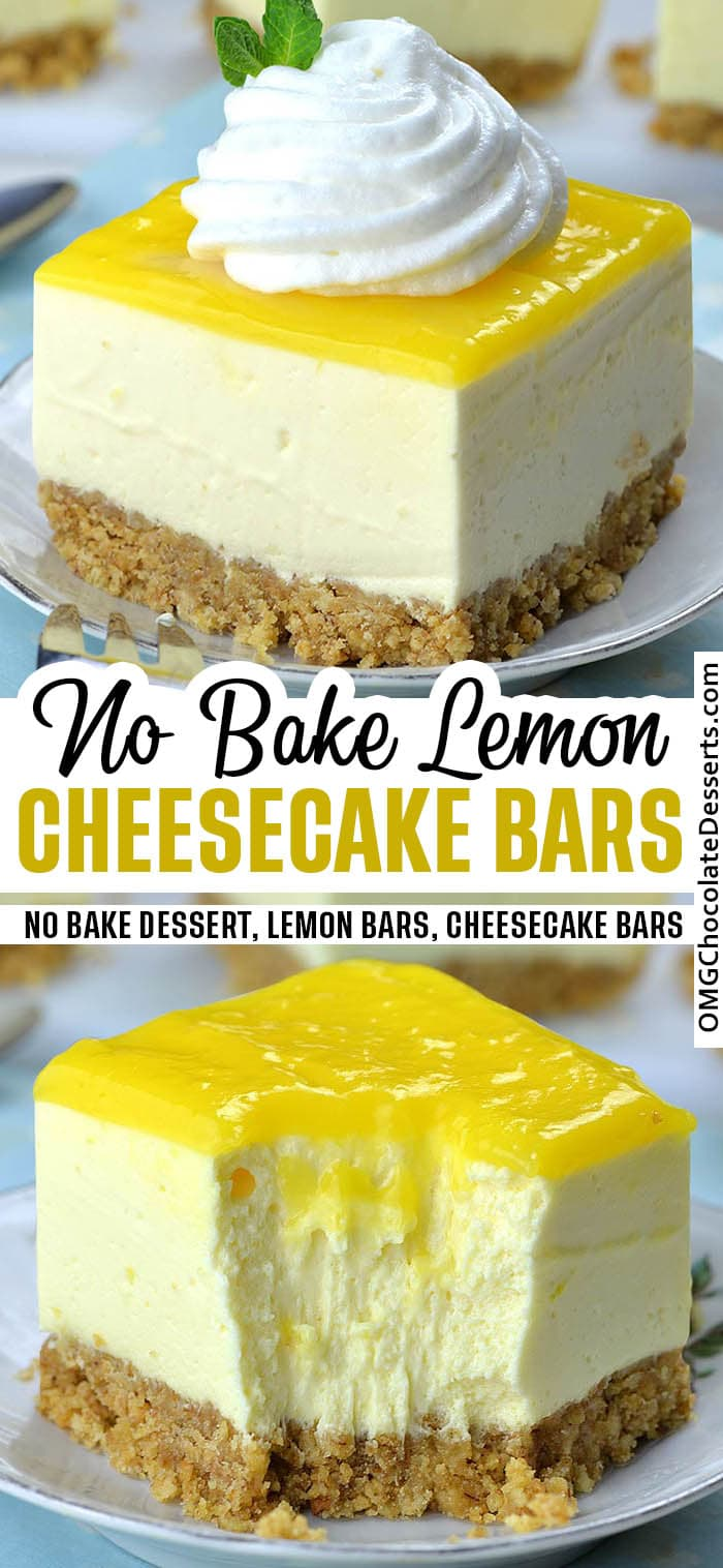 Two different images of Lemon Cheesecake Bars.