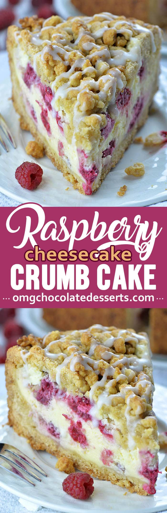 This Raspberry Cheesecake Crumb Cake is a great way to sneak delicious dessert hidden inside your breakfast cake.