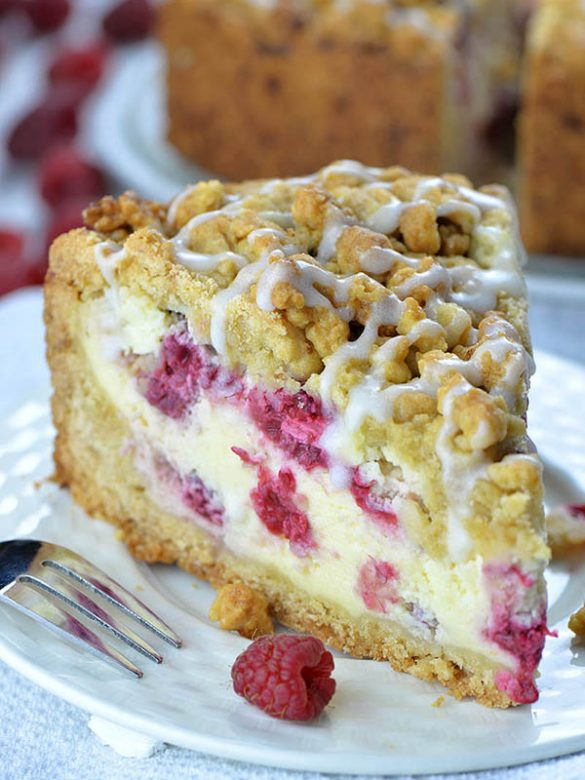 Raspberry Cheesecake Crumb Cake is delicious combo of two delicious desserts: crumb cake and raspberry cheesecake. This simple and easy dessert recipe gives you two cakes packed in one amazing treat.