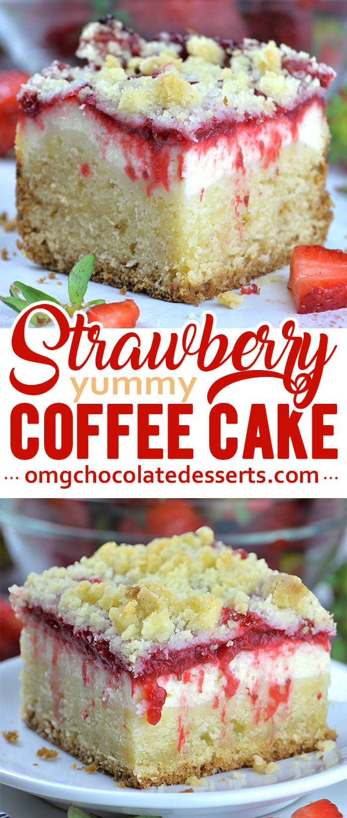 Layer of sweet and refreshing homemade strawberry sauce makes this Strawberry Coffee Cake perfect spring and summer treat. #strawberryrecipe #coffeecake #strawberrycake