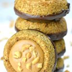 Image of a stack of chocolate peanut butter granola cookies.