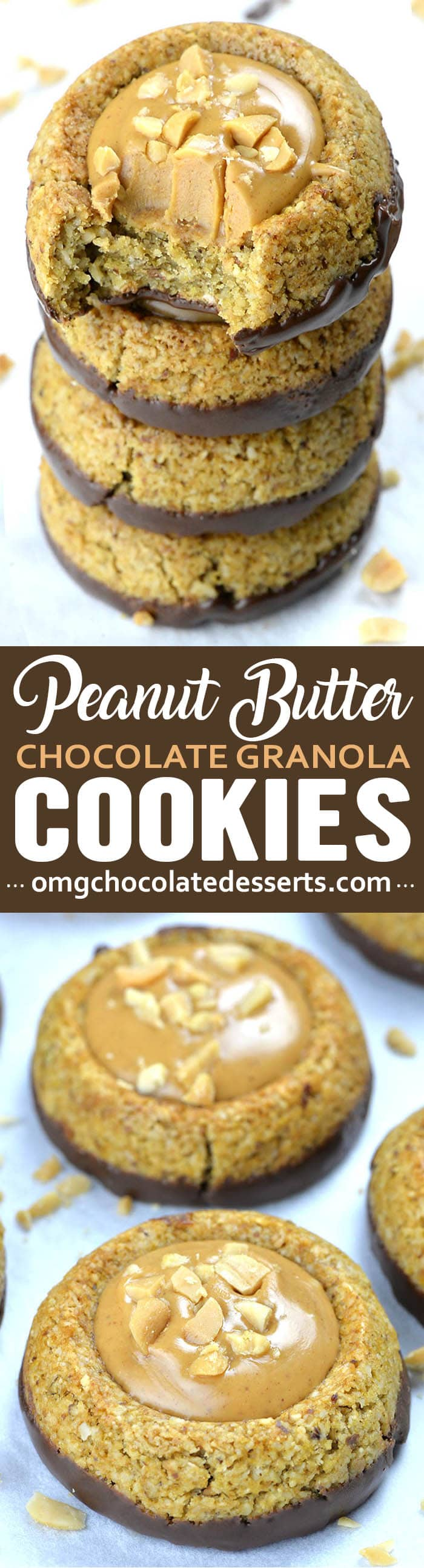 Granola Cookies with dark chocolate and peanut butter are healthy option for anytime of the day- breakfast, snack, but very satisfying dessert, too!