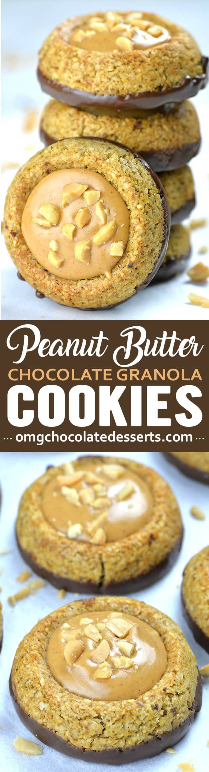 Two images of hocolate Peanut Butter Granola Cookies. First with bunch of cookies each on other and second with two cookies on white background.