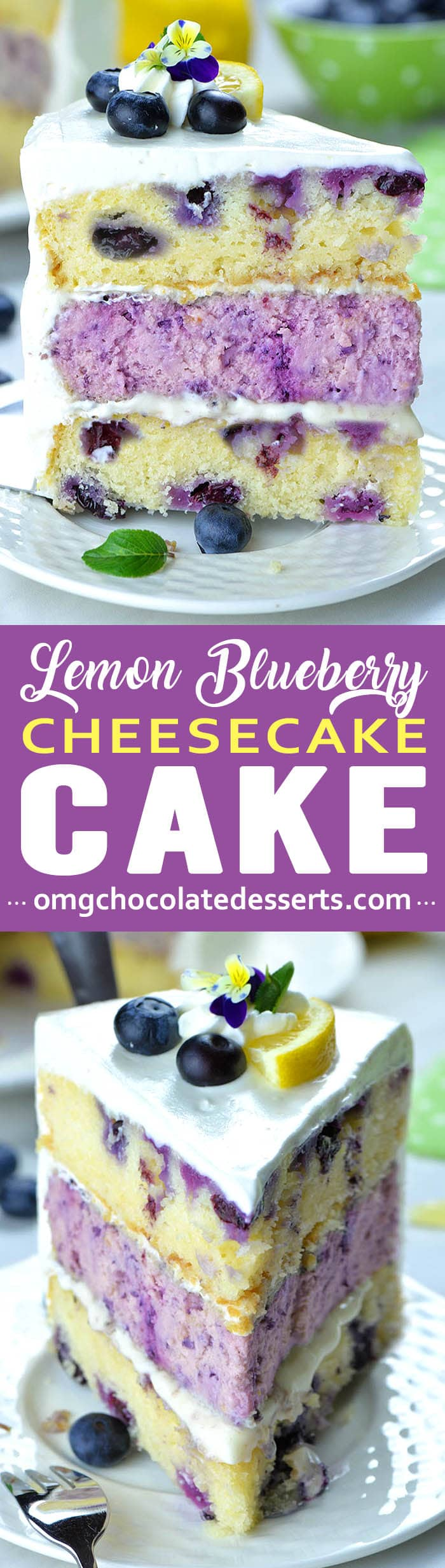 In this Lemon Blueberry Cheesecake Cake you have two delicious dessert, lemon blueberry cake with cream cheese frosting and delicious blueberry cheesecake, packed in one amazing treat.