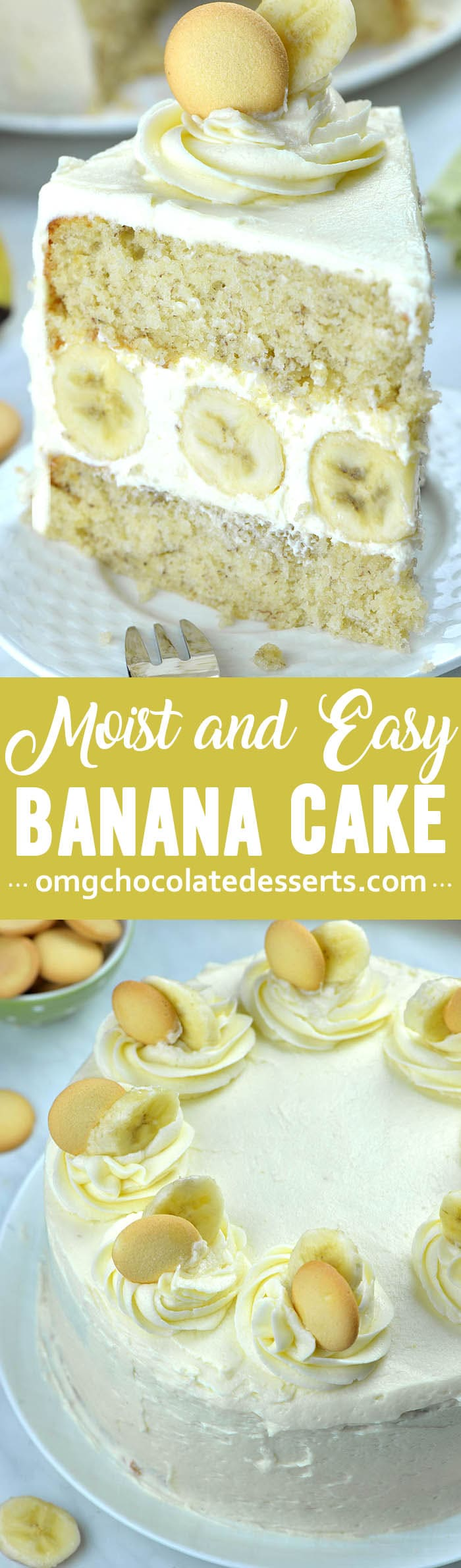 You will love this incredibly moist and easyBanana Cake with rich and fluffy Cream Cheese Frosting! Just like with banana bread, overripe (read: brown) bananas work bet for this recipe.