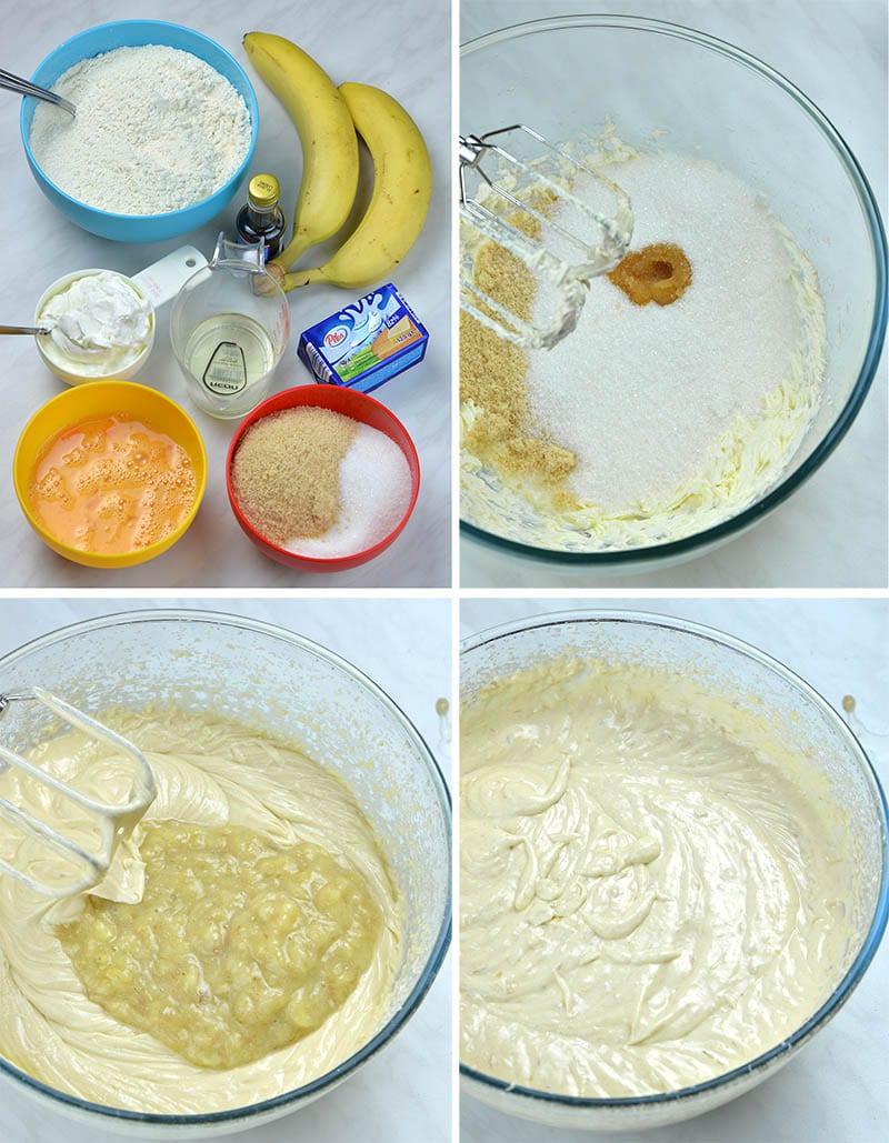 Four steps of making banana cake layer.