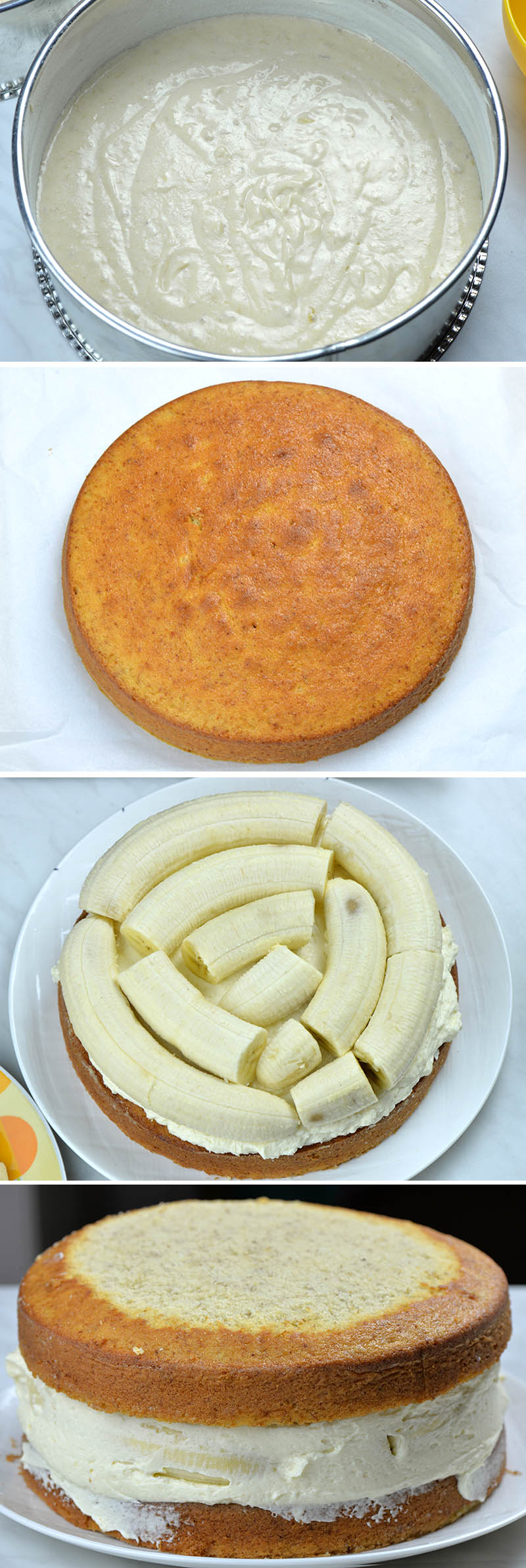 Steps of combining two cake layers, cream cheese frosting and bananas.