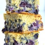 Three pieces of Blueberry Breakfast Cake each on other!