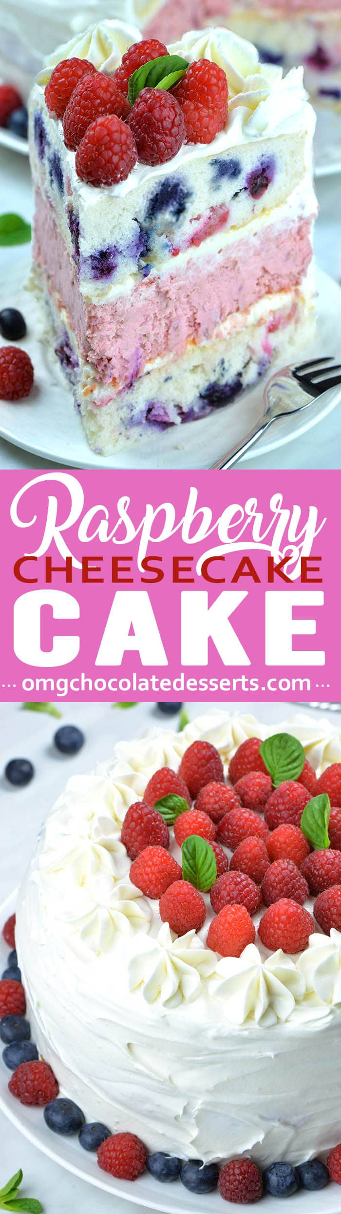 This unique combination of fluffy cake and cheesecake creates a large stunning raspberry layer cake.
