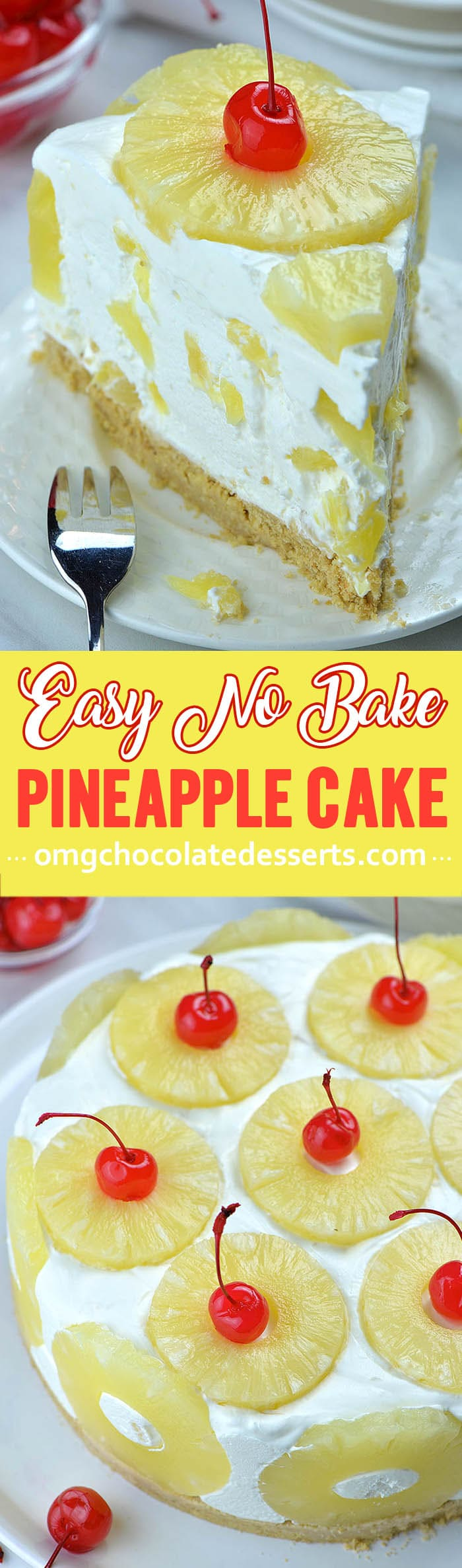 No Bake Pineapple Cake is quick and easy summer dessert recipe. Plus, this quick and easy desert recipe is totally NO BAKE which is exactly what you want in the summer.