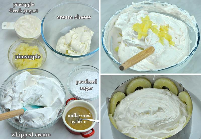 Ingredients for pineapple cake:whipped cream, cream cheese, crushed pineapple, Greek yogurt and gelatin.
