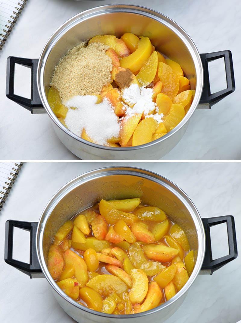 Pot with sliced fresh peaches, sugar, cinnamon and corn starch.