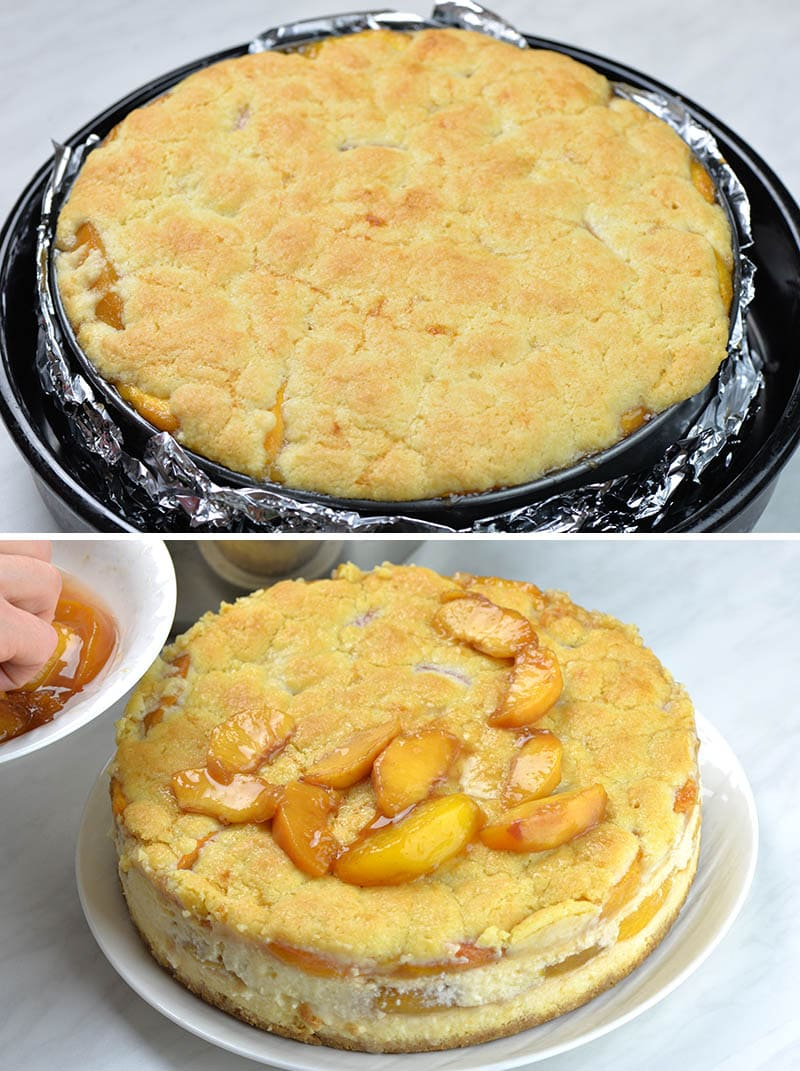 Baked peach cobbler cheesecake in the pan and cake on the plate with peach topping.