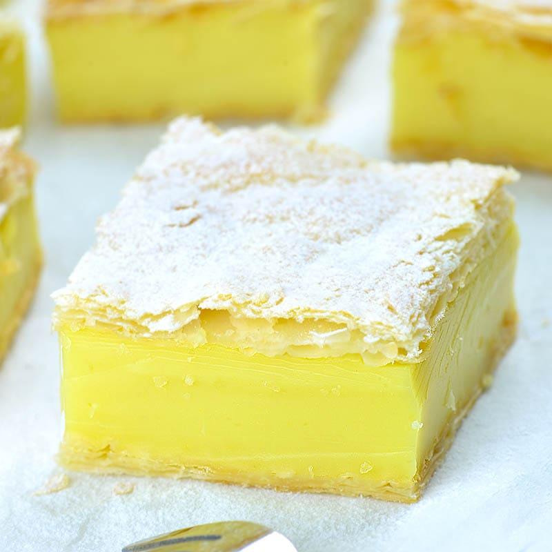 Slice of vegan lemon custard dessert.