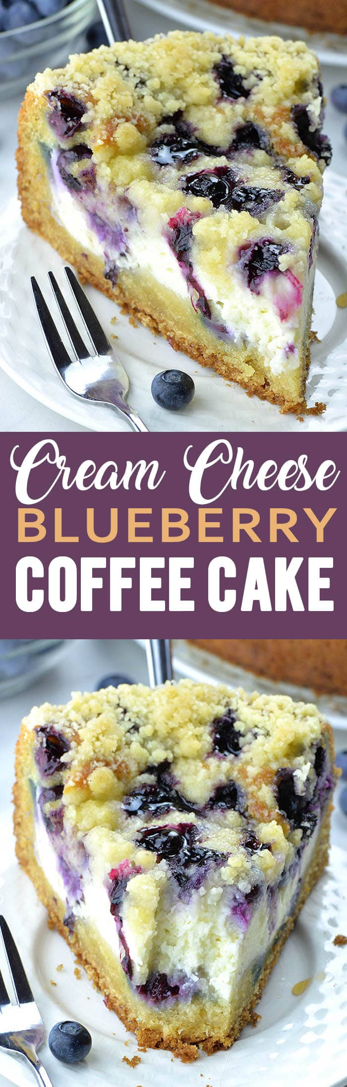 Blueberry Cream Cheese Coffee Cake will be your new favorite coffee cake recipe! Easy coffee cake recipe is perfect for morning treats, brunch or dessert cake after dinner!  #blueberry #coffeecake #blueberryrecipes