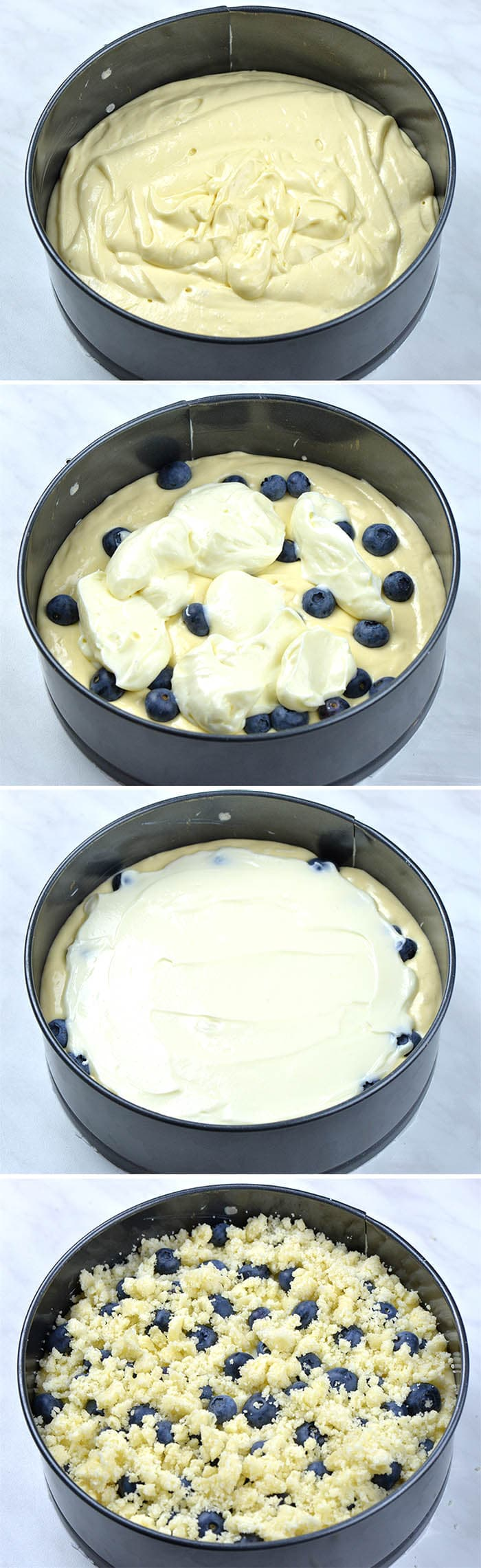 Step by step cake layers in springform pan: cake batter, cream cheese layer, blueberry layer and streusel crumbs.