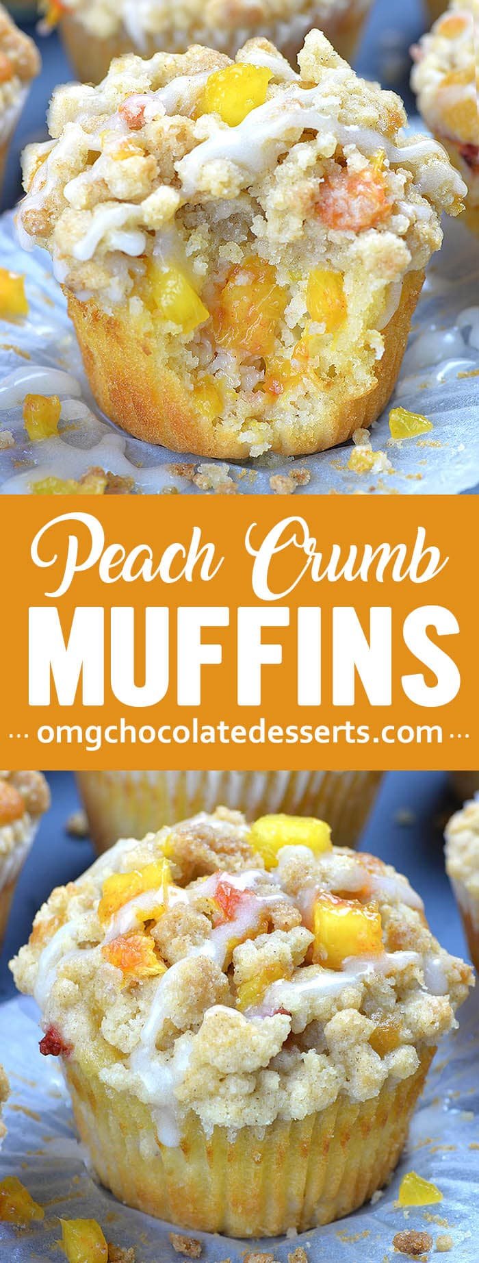 Peach Crumb Muffins are fluffy homemade muffins perfect for breakfasts and snacks. Moist and flavorful muffins loaded with fresh summery peaches, finished with sweet, buttery, cinnamon streusel crumb topping are the best muffin recipe ever!