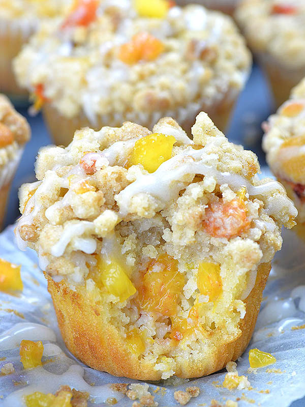 Peach muffin loaded with juicy peaches.